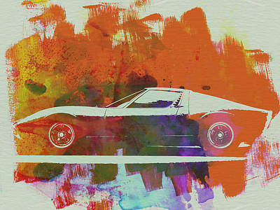 Old Cars Painting - Lamborghini Miura Side 2 by Naxart Studio