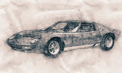 Mixed Media Royalty Free Images - Lamborghini Miura - Sports Car - 1966 - Automotive Art - Car Posters Royalty-Free Image by Studio Grafiikka