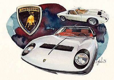 1971 Painting - Lamborghini Miura Sv by Yoshiharu Miyakawa