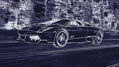 Digital Art - Lamborghini Murcielago Lp670 4 Superveloce by PixBreak Art