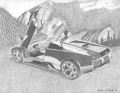 Lamborghini Murcielago Roadster Exotic Car Art Print Drawing By