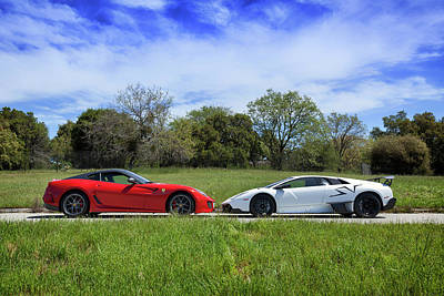 Photograph - #lamborghini #murcielagosv And #ferrari #599gto by ItzKirb Photography