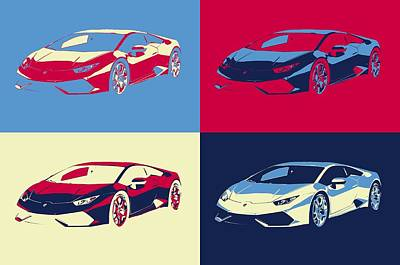 Mixed Media - Lamborghini Pop Art Panels by Dan Sproul