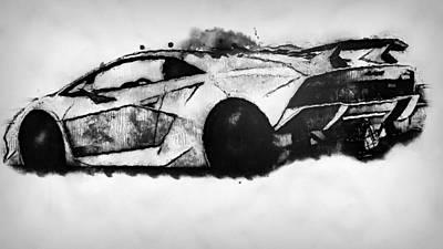 Painting - Lamborghini Sesto Elemento - 47 by Andrea Mazzocchetti