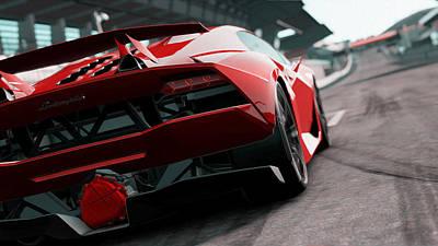 Painting - Lamborghini Sesto Elemento - Rear View by Andrea Mazzocchetti