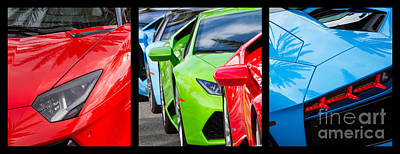 Photograph - Lamborghini Tryptych by Dennis Hedberg