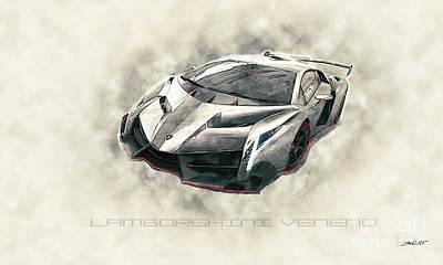Racetrack Digital Art - Lamborghini Veneno #2 by Dennis Wat