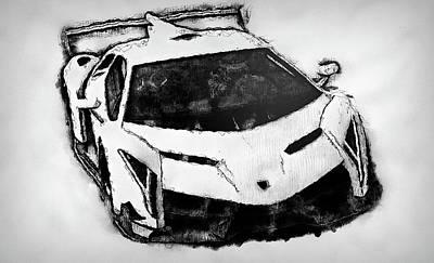 Painting - Lamborghini Veneno - 53 by Andrea Mazzocchetti