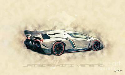 Racetrack Digital Art - Lamborghini Veneno by Dennis Wat
