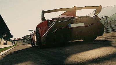 Painting - Lamborghini Veneno - Rear View by Andrea Mazzocchetti