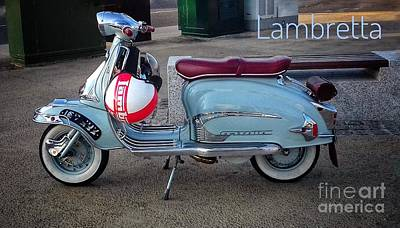 Photograph - Lambretta In Ice Blue by Joan-Violet Stretch