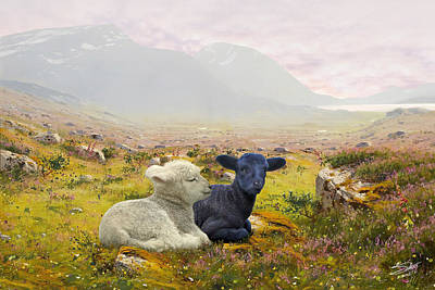 Painting - Lambs On A Hillside by IM Spadecaller