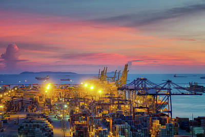 Lamchabang Logistic Port In Thailand Art Print