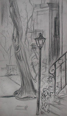 Streetlight Drawing - Lamp Post by Aimee Johnson