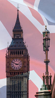 Photograph - Lamp Post And Big Ben London Blended With British Flag by Jacek Wojnarowski