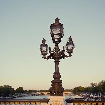 Lamp Post On The River Seine In Paris Art Print