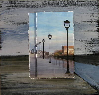 Mixed Media - Lamp Post Row Layered by Anita Burgermeister