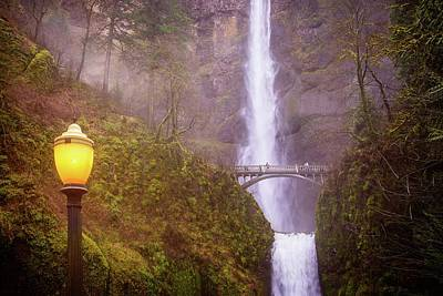 Photograph - Lamplight At Multnomah Falls by Lynn Bauer