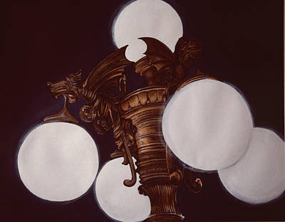 Wall Art - Painting - Lamplight From Demons by Gaye Elise Beda