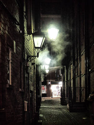 Gas Lamp Photograph - Lamplight In Briggate Leeds  by Philip Openshaw