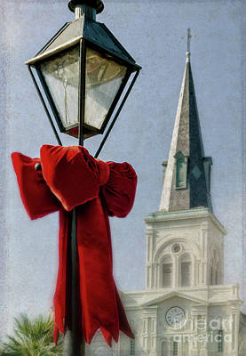 Photograph - Lamppost, Bow, And Cathedral - New Orleans by Kathleen K Parker