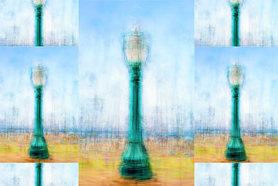 Photograph - Lamppost On The Boardwalk Collage by Joseph S Giacalone