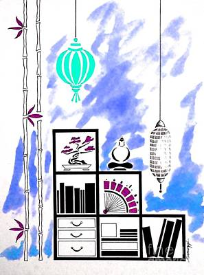 Lamps, Books, Bamboo -- Blue Art Print by Jayne Somogy