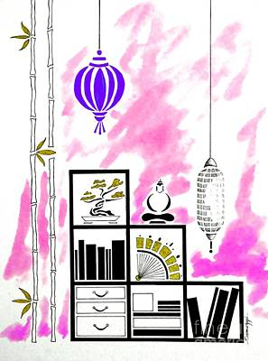 Bonsai And Book Painting - Lamps, Books, Bamboo -- Fuchsia by Jayne Somogy