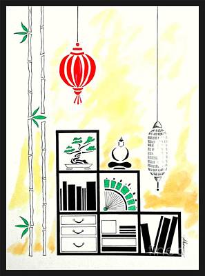 Lamps, Books, Bamboo -- The Original -- Asian-style Interior Scene Art Print by Jayne Somogy