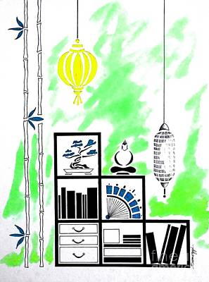 Lamps, Books, Bamboo -- Lime Green Art Print by Jayne Somogy
