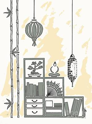 Bonsai And Book Painting - Lamps, Books, Bamboo -- Neutrals by Jayne Somogy