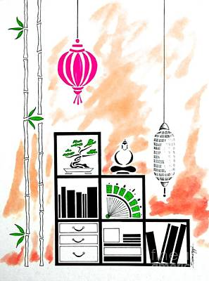 Lamps, Books, Bamboo -- Orange Art Print by Jayne Somogy