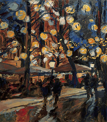 Van Gogh Painting - Lampy Night by Nop Briex