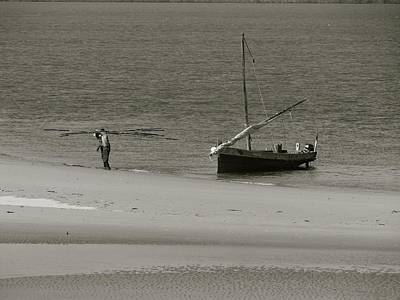 Explorason Photograph - Lamu Island - Wooden Fishing Dhow Getting Unloaded - Black And White by Exploramum Exploramum