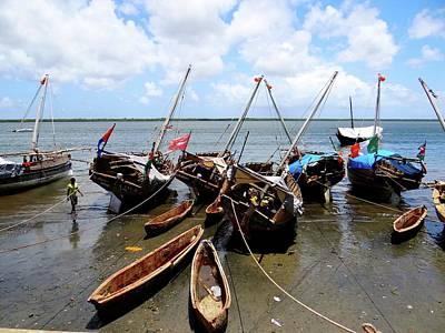 Lamu Island - Wooden Fishing Dhows At Low Tide Art Print