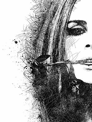 Digital Art - Lana Del Ray Half Face Portrait 1 by Mihaela Pater