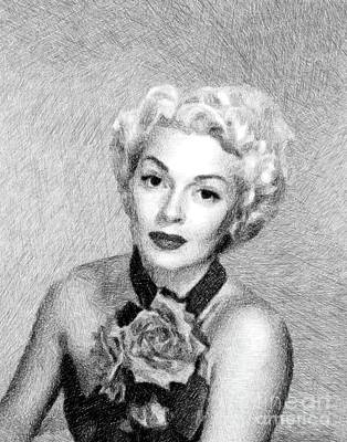 Musicians Drawings - Lana Turner, Vintage Actress by JS by Esoterica Art Agency