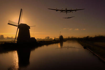 Photograph - Lancaster Bombers And Dutch Windmills by Ken Brannen