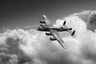 Photograph - Lancaster Kb799 Above Clouds Bw Version by Gary Eason