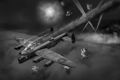 Photograph - Lancaster Kb799 Under Fire Bw Version by Gary Eason
