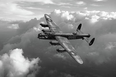 Photograph - Lancaster W5005 Ar-l Leader Above Clouds Bw Version by Gary Eason