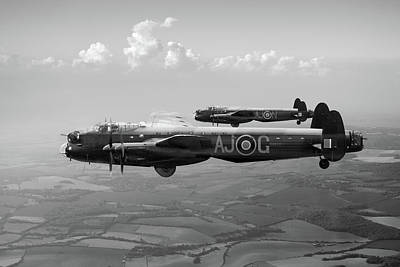 Photograph - Lancasters Aj-g And Aj-n Carrying Upkeeps Black And White Versio by Gary Eason