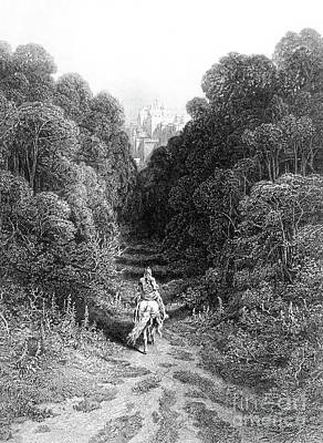 Knight Drawing - Lancelot Approaches The Castle At Astolat by Gustave Dore