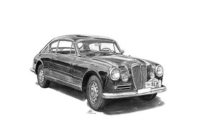 Italian Classic Car Drawing - Lancia Aurelia B20 Gt by Gabor Vida