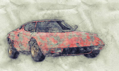 Royalty-Free and Rights-Managed Images - Lancia Stratos HF 1 - Sports Car - Rally Car - 1970 - Automotive Art - Car Posters by Studio Grafiikka