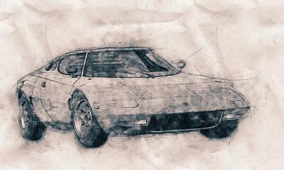Mixed Media Royalty Free Images - Lancia Stratos HF - Sports Car - Rally Car - 1970 - Automotive Art - Car Posters Royalty-Free Image by Studio Grafiikka