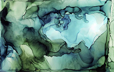 Ink Wall Art - Painting - Land And Water Abstract Ink Painting by Olga Shvartsur