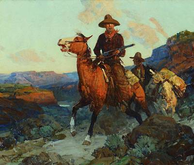 Man On Horse Painting - Land Beyond The Law by MotionAge Designs