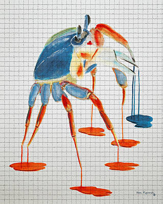 Crab Painting - Land Crab Fight Stance Mosaic Tile by Ken Figurski