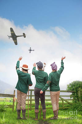 Wave Jumper Photograph - Land Girls From The Women's Land Army Wave At Passing World War  by Lee Avison